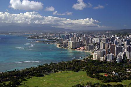 ハワイ州ホノルル ダイヤモンド ヘッド · クレーター (61 ミリメートル当量) からの眺め