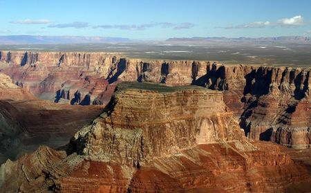 An aerial view of the Grand Canyon from a helicopter tour.