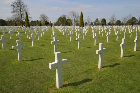 American Cemetery at Normandy in Colleville-sur-Mer, France. The cemetery overlooks Omaha Beach. photo