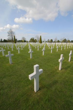 ww2: American Cemetery at Normandy in Colleville-sur-Mer, France. The cemetery overlooks Omaha Beach.