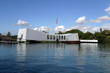 ww2: U.S.S. Arizona Memorial at Pearl Harbor in Honolulu, Hawaii. Editorial