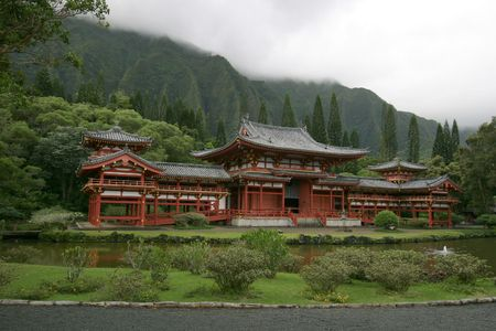 Byodo-In Temple - Buddhist temple located on the island of Oahu in Hawaii. It is a replica of the 900 year old temple located in Uji, Japan. Editorial