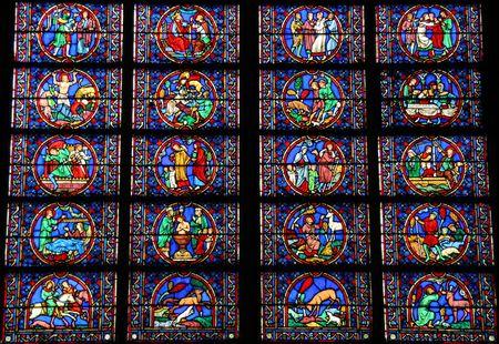 notre dame: Stained glass window at Notre Dame de Paris in Paris, France.