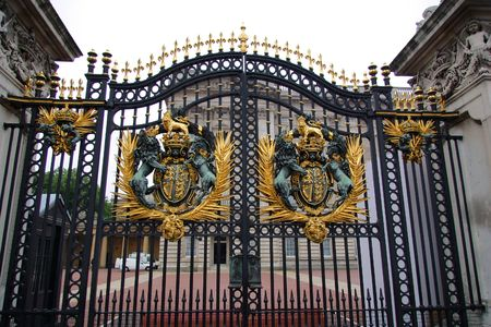 Buckingham Palace Gate with Royal Coat of Arms - London, England