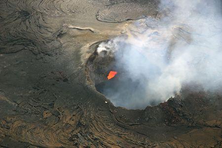 PuuOo Cone of Kilauea Volcano - Hawaii Volcanoes National Park on the Big Island of Hawaii. Imagens