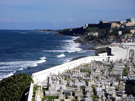 cristobal: San Juan Cemetery with Fort San Cristobal at top right - Old San Juan, Puerto Rico