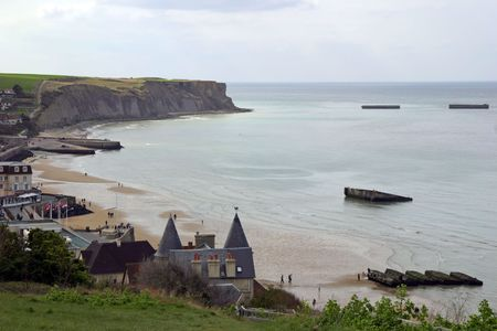 ww2: Gold Beach (Arromanches) - D-Day landing site and artificial harbor of allied forces.