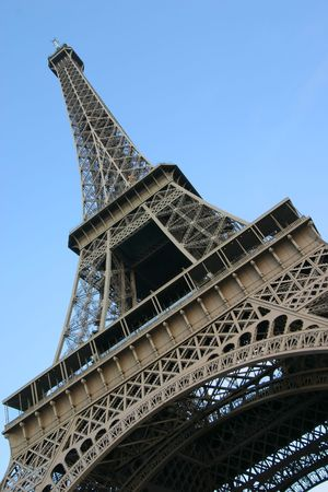 Abstract view from the base of the Eiffel Tower in Paris, France. Stock Photo