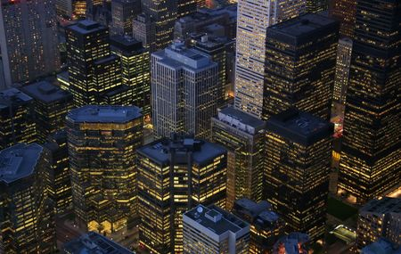 nightime: A nightime view of illuminated skyscrapers in the financial district of Toronto, Ontario. (Canada) Stock Photo