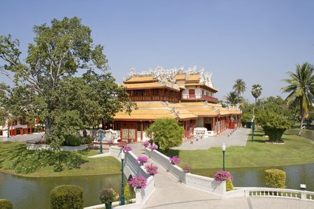 The Royal Residence (Phra Thinang) of the Thai summer palace of Bang Pa-In, near Ayutthaya and Bangkok. photo