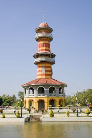The Sages Lookout Tower (Ho Withun Thasana) of the Thai summer palace of Bang Pa-In near Ayutthaya and Bangkok. photo