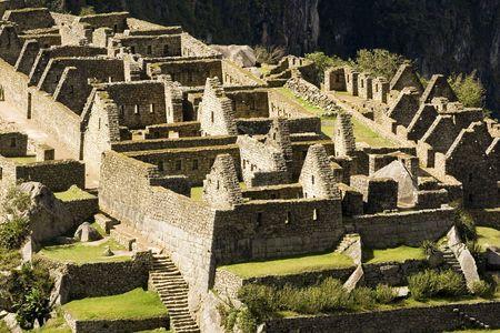 Close up view of buildings at Machu Picchu, (Peru)