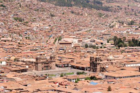 plaza de armas: The Cathedral and La Compania de Jesus on the Plaza de Armas (main square) of Cusco, Peru. Stock Photo