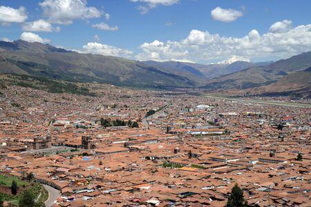 The city of Cusco, Peru. Original Inca city. The Plaza de Armas can be seen on the left side.