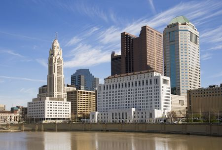 columbus: View of the Scioto River and downtown Columbus, Ohio.
