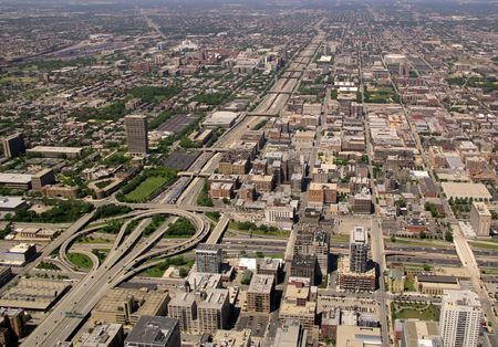 Aerial view of highway interchange in Chicago, Illinois (290 & 9094).
