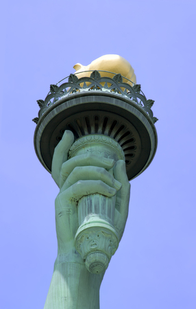 View of the Statue of Libertys Torch on Liberty Island in New York City. Stock Photo