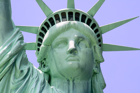 Close up of the Statue of Liberty on Liberty Island in New York City.