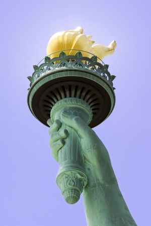 liberty island: View of the Statue of Libertys Torch on Liberty Island in New York City. Stock Photo
