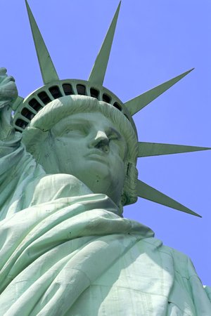 liberty island: Close up of Statue of Liberty on Liberty Island in New York City.