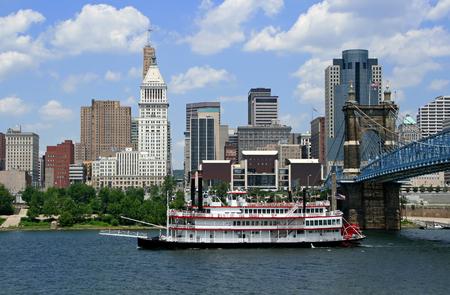 Replica steamboat travels down the Ohio River in front of Cincinnati, Ohio.