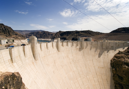 Wide angle view of Hoover Dam on the Nevada/Arizona border.