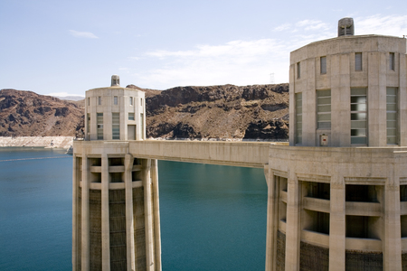 reclamation: View of Hoover Dam intake towers in Lake Mead.