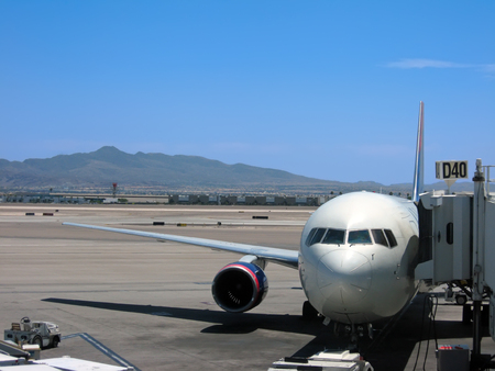 飛行機はラスベガス、ネバダ州でマッカラン国際空港のゲートで駐車しました。