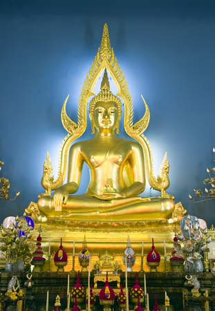 buddha image: Buddha at main altar of Wat Benjamobopith in Bangkok, Thailand.