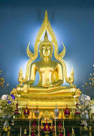 awakened: Buddha at main altar of Wat Benjamobopith in Bangkok, Thailand.