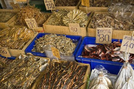 Variety of Thai seafood for sale at a market in Bangkok. photo