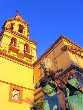 convento: Statues and bell tower of the historic Convento de la Cruz (Convent of the Cross) in the colonial city of Queretaro, Mexico.