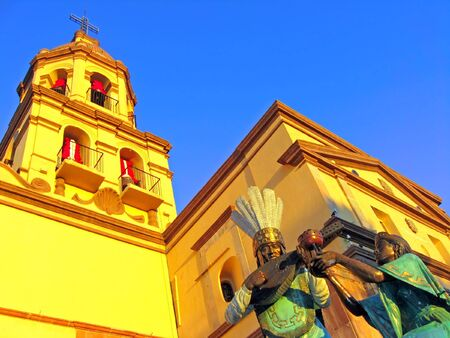 Statues and bell tower of the historic Convento de la Cruz (Convent of the Cross) in the colonial city of Queretaro, Mexico.