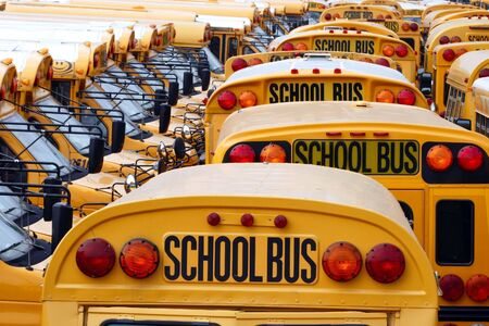 school buses: Yard full of parked yellow school buses.