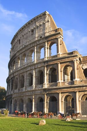 Exterior view of the Colosseum in Rome, Italy.