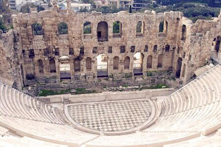 The Odeon of Herodes Atticus on the south slope of the Acropolis in Athens, Greece. c 161 AD. Stock Photo