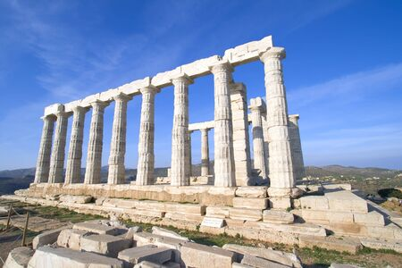 wide angle: Wide angle view of the Temple of Poseidon at Cape Sounion near Athens, Greece. c 440 BC. Stock Photo