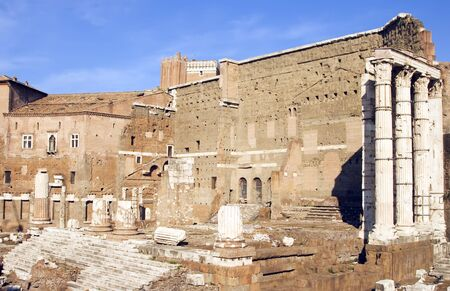 The Forum of Augustus with the Temple of Mars Ultor in the Imperial Forums in Rome, Italy. c 2 BC.