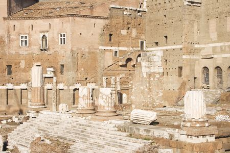 The Forum of Augustus with the Temple of Mars Ultor in the Imperial Forums of Rome, Italy. c 2 BC. photo