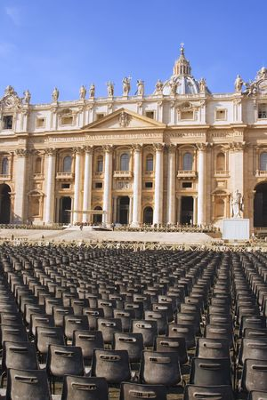 papal audience: Saint Peters Basilica and chairs for the papal audience at Vatican City in Rome, Italy.