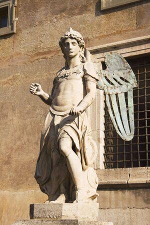 michael the archangel: Saint Michael sculpture of Raffaello da Montelupo orginally atop Castel SantAngelo.  6th century AD. Stock Photo