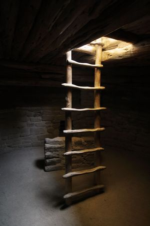kiva: Kiva Ladder at Spruce Tree House in Mesa Verde National Park in Colorado.