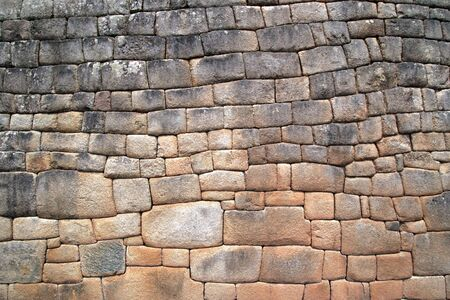incan: Close up view of the intricate Artisans Wall at the Lost City of Machu Picchu near Cusco, Peru. Stock Photo
