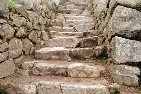 incan: Primo piano scala di pietra a rovine Inca di Machu Picchu vicino a Cusco, Per�. Archivio Fotografico