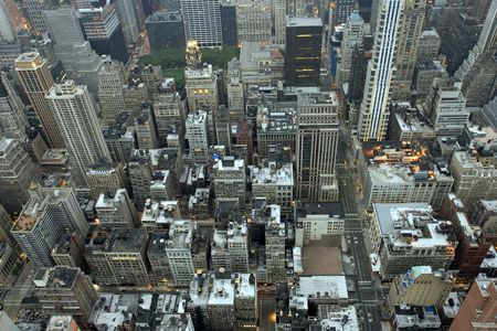 Overhead view of buildings in Midtown Manhattan in New York City in early morning light. Stock Photo