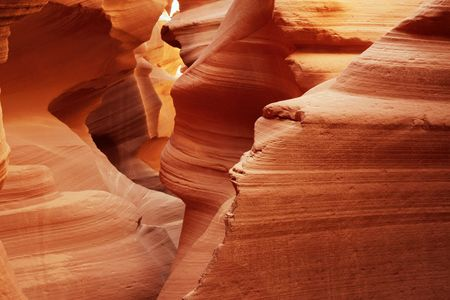 slot canyon: View through the Lower Antelope slot canyon near Page, Arizona. Stock Photo