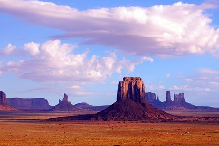 butte: View from Artists Point and Merrick Butte at Monument Valley Navajo Tribal Park. Stock Photo