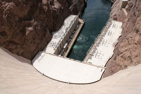 View of down Dam at hydroelectric powerplant and Colorado River.