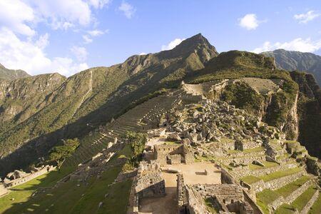 the lost city of the incas: The lost Incan city of Machu Picchu near Cusco, Peru. Stock Photo
