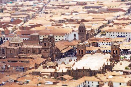 tilt: Tilt Shift  Selective Focus view of the Plaza de Armas of Cusco, Peru.